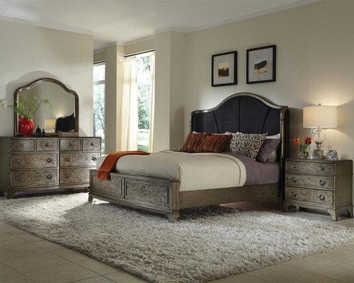 hanson silver bedroom set bed dresser mirror 2 nightstands bedroom