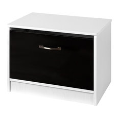 Marina Ottoman Storage Box, Black and White