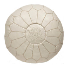 Embroidered Leather Pouf, White on White
