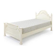 - 【Fiore】 ロココ調白家具 シングルサイズベッド - パネルベッド