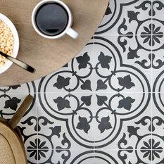 TileBar - Sample-Cascais White Ornate 9x9 Matte Porcelain Tile - Wall and Floor Tile