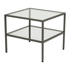 Studio Designs   Camber End Table Pewter And Clear Glass   Side Tables And End  Tables