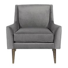 Worlds Away, Lounge Chair With Bronze Legs, Velvet, Wrenn, Gray