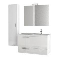 """39"""" Glossy White Bathroom Vanity Set"""