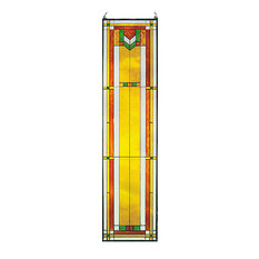 Arts and Crafts Tall Prairie Window Art Glass Panel 8