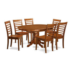 7-Piece Dining Set-Oval Dining Table With Leaf And 6 Dining Chairs