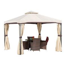 GDF Studio Sonoma Outdoor Gazebo Canopy With Net Drapery, Beige