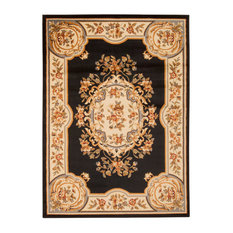 """Traditional Black Rug, 3'11""""x5'10"""", Paramount PAR37 by Nourison Rugs"""