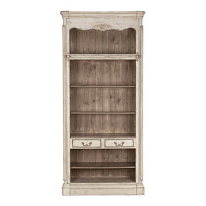 Self-Assemble Bookshelf With 2 Drawers, Aged Grey