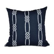 "Tom Foolery, Stripe Print Pillow, Navy Blue, 18""x18"""