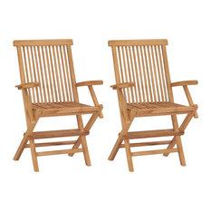 vidaXL Set of 2 Teak Garden Chairs, 55x60x89 cm