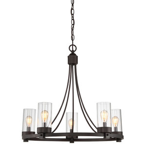 Transitional 5 Light Chandelier in Oil Rubbed Bronze