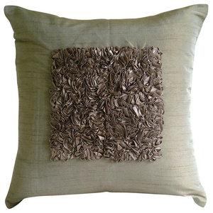 Textured Ribbon Brown Art Silk Cushion Covers 50x50, Vintage Champagne Brown