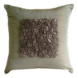 Textured Ribbon Brown Art Silk Cushion Covers 35x35, Vintage Champagne Brown