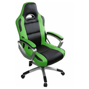 Modern Gaming Chair Upholstered, PU Leather With Extra Padded Seat, Green