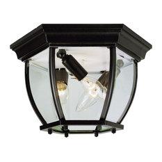 "Trans Globe The Standard - 13"" Flush Mount, Black Finish with Beveled Glass"