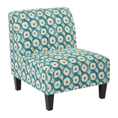 Office Star Products   Magnolia Chair, Geo Dot Teal   Armchairs And Accent  Chairs