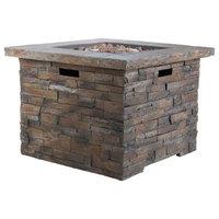 GDF Studio Stonecrest Outdoor Circular Fire Table, Gray/Square