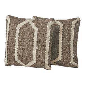 GDF Studio Tarim Wool Throw Pillow, Linen, Set of 2