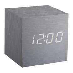 Gingko Cube Click Clock, Aluminum With Blue LED