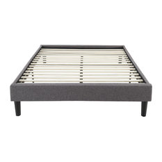 Divano Roma Furniture - Modern Gray Linen Fabric Platform Bed with Wooden Slats, Queen - Bed Frames