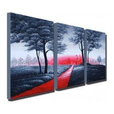"""Walk the Park"" Modern Gray Tree Painting, 48""x24"""