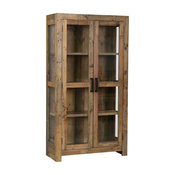 Norman Reclaimed Pine 2 Door Curio Cabinet Distressed Natural by Kosas Home