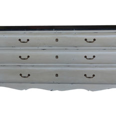 - White Rustic Bombe Chest with 3 Drawers & Marble Top - Chests of Drawers