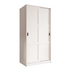 100% Solid Wood 2-Sliding Door Wardrobe/Armoire/Closet, White