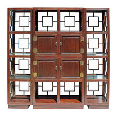 Chinese Set of 3 Elm Wood Glass Shelf Display Curio Cabinet Hcs4207