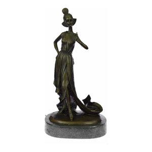 "13/"" West Art Deco Sculpture Beautiful Girl Butterfly Mask Bronze Statue Figurine"