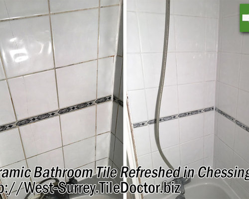Cleaning Ceramic Bath Tiles At A Chessington Student Let