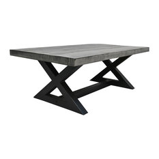 Inspire At Home   Solid Mango Wood Cast Iron Coffee Table, Distressed Gray    Coffee