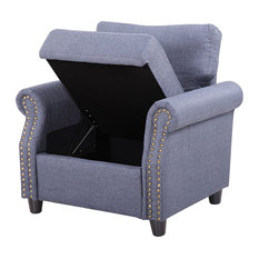living room furniture chairs. Divano Roma Furniture  Classic Living Room Linen Armchair with Nailhead Trim and Storage Space Houzz