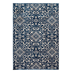 Terrace Tropic Rug, Sapphire and Snow, 5' X 7'3""