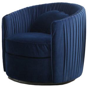 Carson Wooden Lounge Chair, Indigo Blue