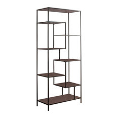 "Contemporary 31""W Walnut Laminate and Black Metal Finish 7 Tier Bookcase, 801134"