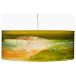 "Rowan Chase - Lichen, 12"" X 9"", No Diffuser - A colorful blend to smoothen your interior; the Lichen drum pendants by Californian artist Rowan Chase. These unique lamps are constructed on white powder coated lampshade rings with Rowan Chase artwork. 100% Cotton Velvet Watercolor paper, a white 10 foot cord with porcelain fixture and white ceiling canopy. The lamps come assembled and ready for installation. They are handmade in California one shade at a time by Rowan Chase himself in his studio. Available in four sizes from 8"" to an amazing 24"" centerpiece which completely changes your dining, bed or living room! All shades are 9"" tall."