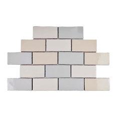 """3""""x6"""" Artic Craquelle Ceramic Wall Tiles, Set of 32, Mix"""