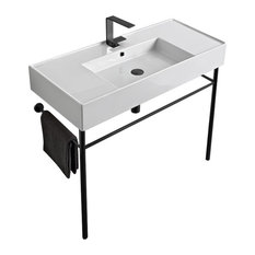 Ceramic Console Sink and Matte Black Stand, One Hole