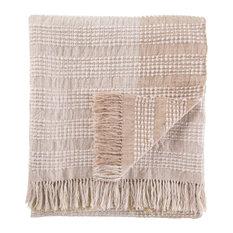 Jaipur Living Marit Gray/Beige Stripe Throw, 52x68