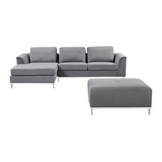 Velago Furniture Outlet - Ollon Fabric Sectional Sofa, Dark Gray, Left Facing - Outdoor Lounge Sets