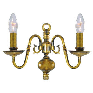 Flemish 2-Arm Antique Brass Traditional Wall Light
