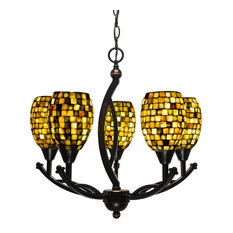 "Bow 5 Light Chandelier, Black Copper, 20.75x20.75x20.25, 6"" Sea Haze Seashell Gl"