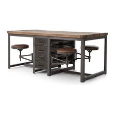 Gentil Wilkes Industrial Loft Reclaimed Pine Iron 4 Swivel Stools Desk Dining Table    Desks And