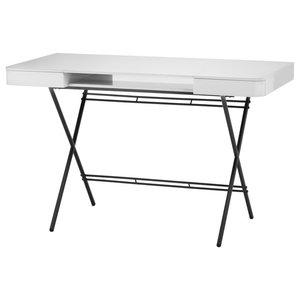 Cosimo Matte Brown Desk, Grey Glossy Lacquered Top
