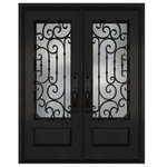 """Door Destination - Iron Front Door: ID03, 73 1/4"""" X 97"""" X 6"""", Lefthand Swing - Heavy-duty 14 gauge steel, polyurethane-filled for energy efficiency. E glass, tempered, sealed, and weatherstripped to prevent leakage. Glass panels can be opened independently from the doors. Door thresholds prevent water infiltration. All doors use barrel hinges, and double doors include a pre-insulated flush bolt system. We can make any design hurricane resistant."""