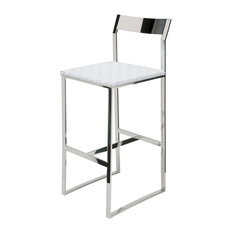 nuevo living camille stainless steel leather stool white counter height bar stools - White Leather Bar Stools