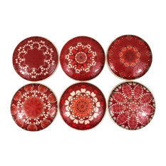 6 Piece Set Red Mandala Cabinet Knobs