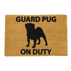 """""""Guard Pug on Duty"""" Doormat"""